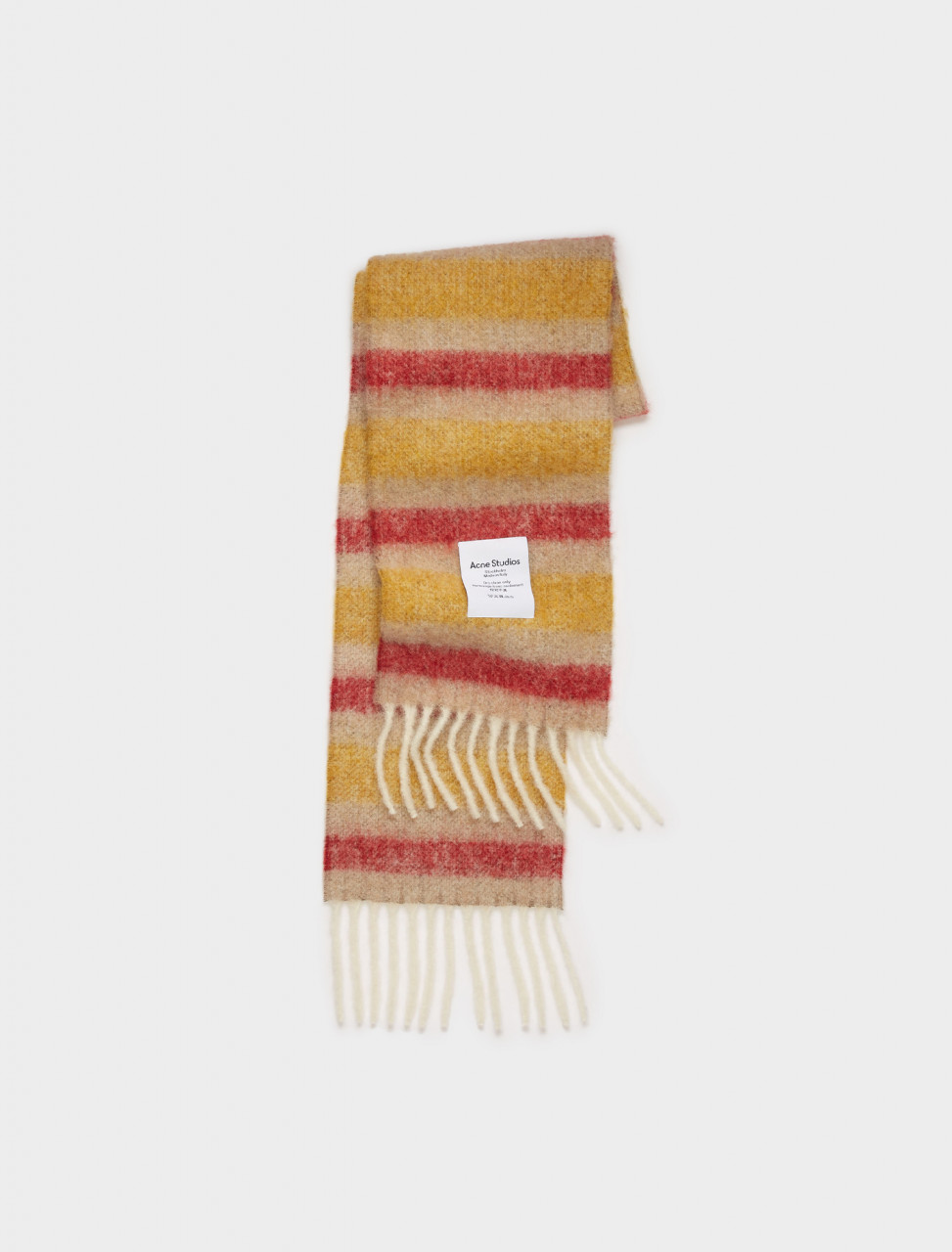 110-CA0096-CIH ACNE STUDIOS STRIPED SCARF IN BEIGE RED YELLOW