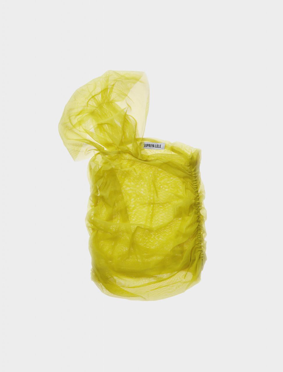 Supriya Lele Saree Sash Wrap Top in Lime Japanese Mesh