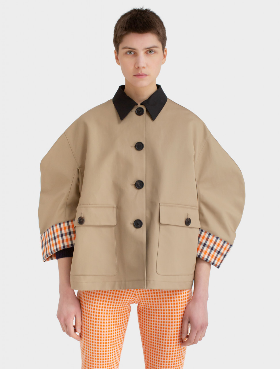 Poplin Gingham Jacket in Mustard