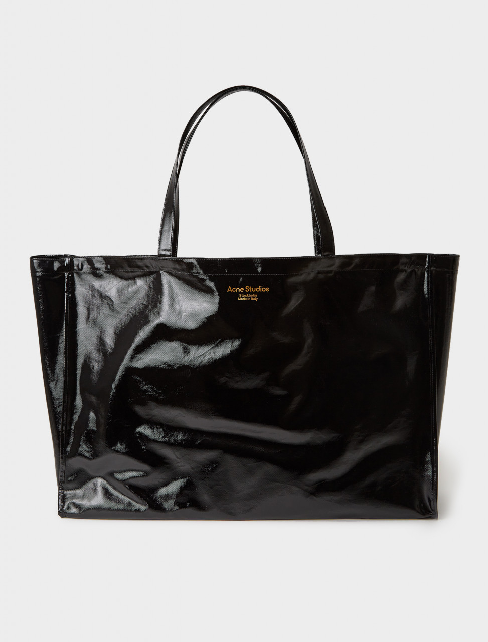 C10078-900 ACNE STUDIOS COATED COTTON TOTE BAG BLACK