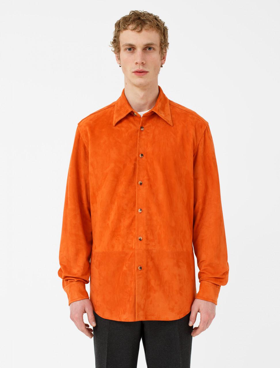 Orange Leather Shirt
