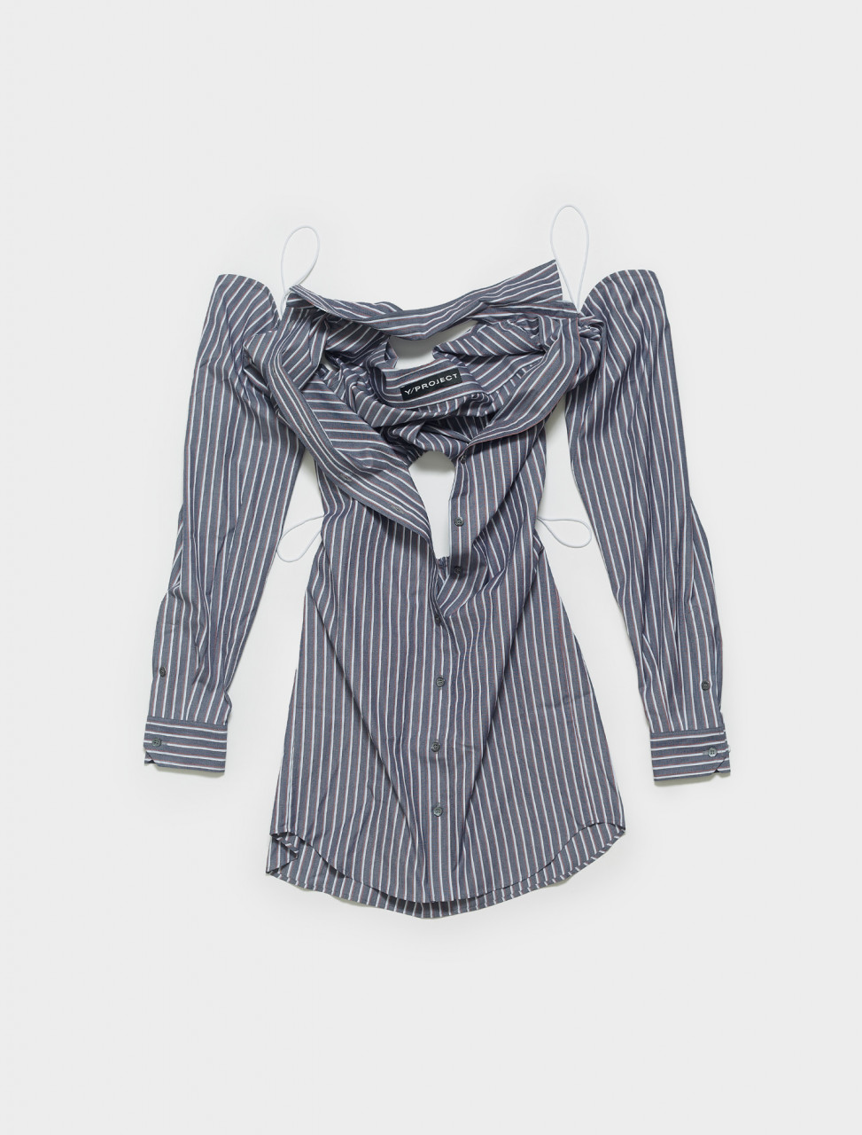 WSHIRT54-S20 Y PROJECT CONVERTIBLE SHIRT DRESS IN GREY & RED STRIPE