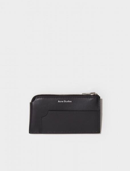 CG0166 900 FN UX SLGS000188 ACNE STUDIOS GARNET LARGE ZIPPERED CARD HOLDER IN BLACK
