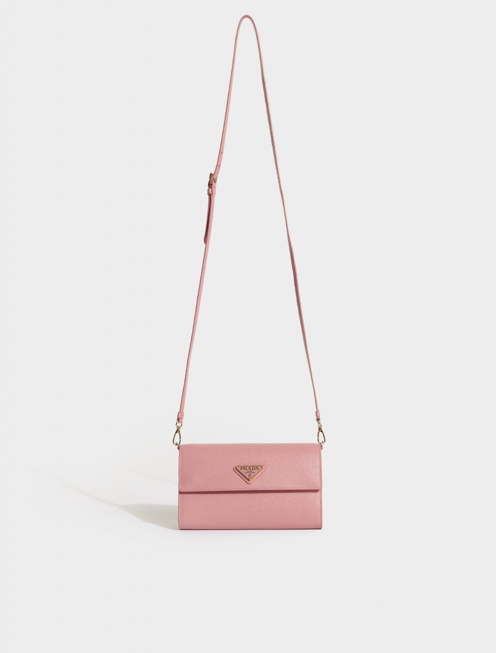 1MA022-F0442 PRADA Saffiano Leather Wallet with Shoulder Strap in Petal