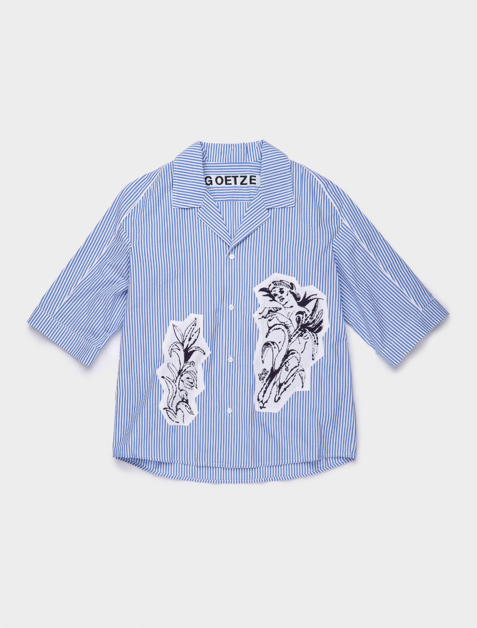 TED05A GOETZE TED PRINTED SHIRT BLUE WHITE STRIPE