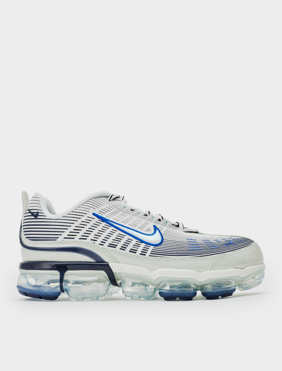 Side view of Nike Air Vapormax 360 Sneaker in Spruce Aura Racer Blue-Pistachio Frost
