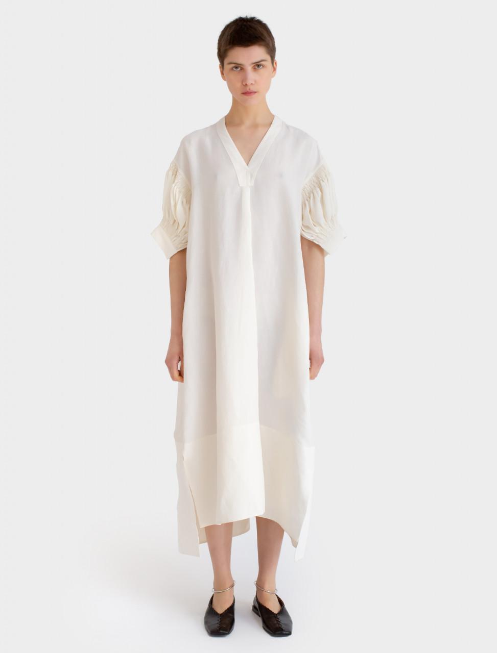 Textured Viscose Linen Dress in Natural