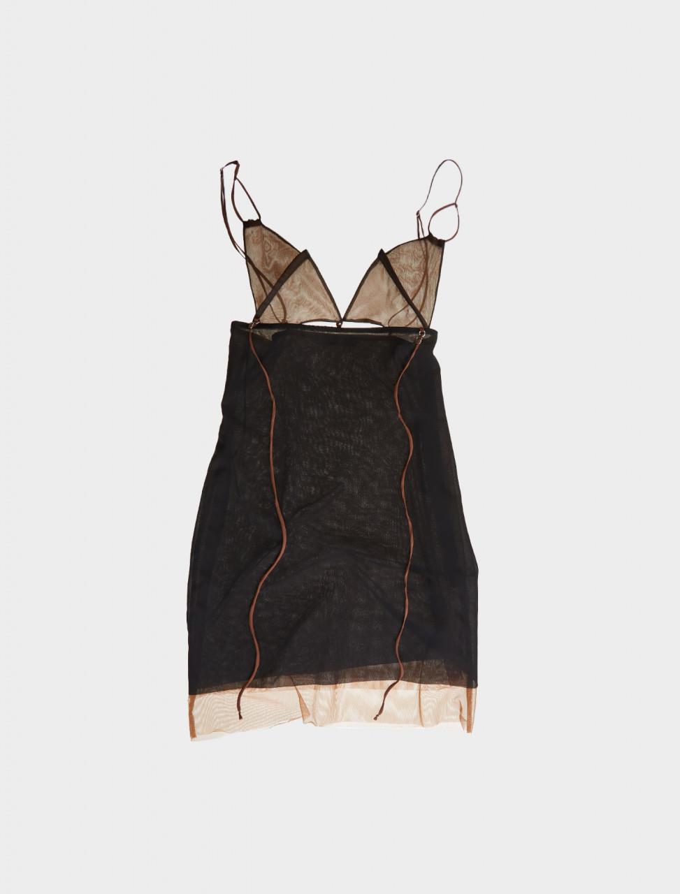 Nensi Dojaka Mini Bra Layered Dress in Black & Nude Front