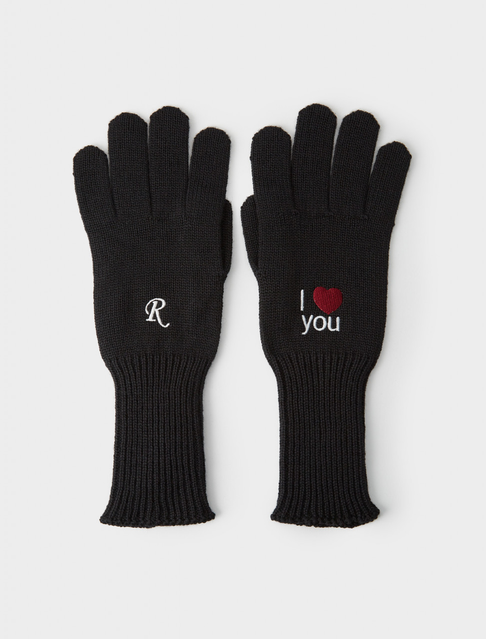 162-202-853-50024-00099 RAF SIMONS AW20 21 I LOVE YOU KNITTED GLOVES