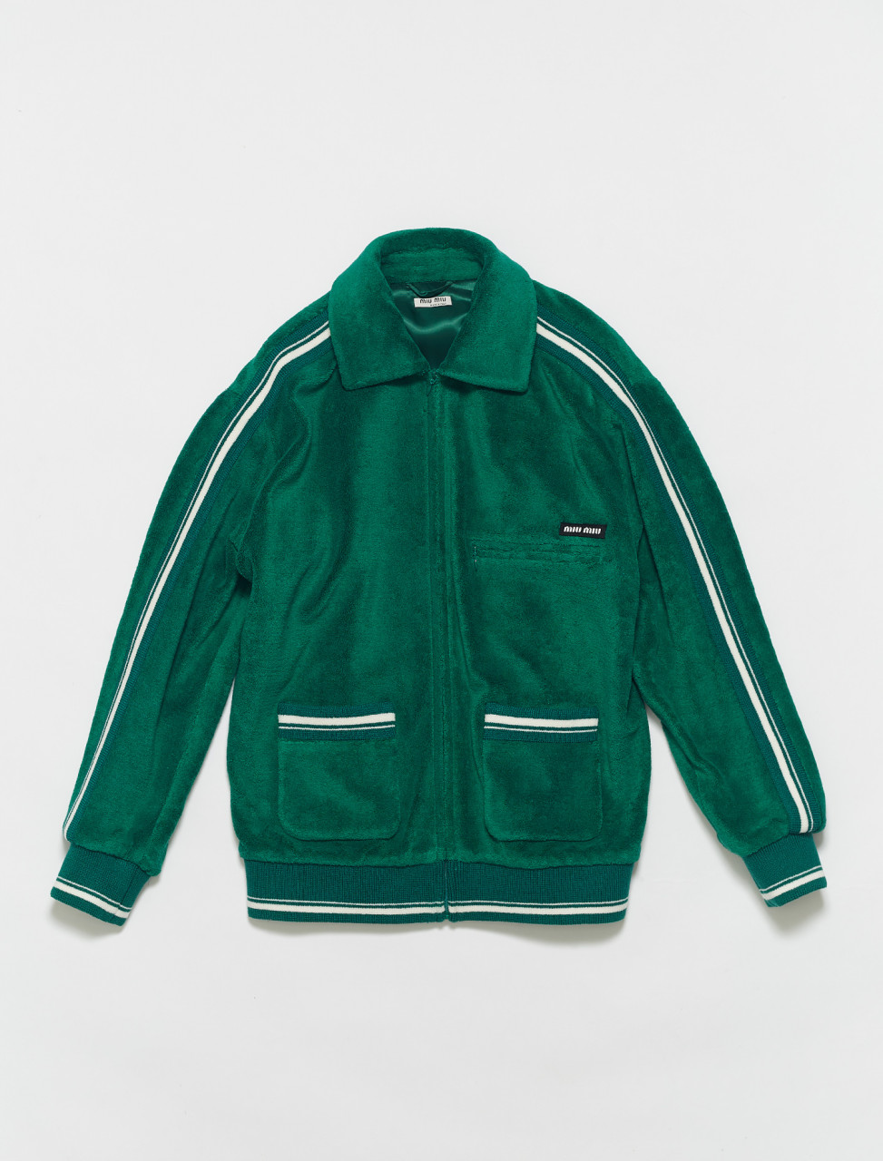 ML694-F077U MIU MIU TERRY JERSEY BLOUSON JACKET IN EMERALD
