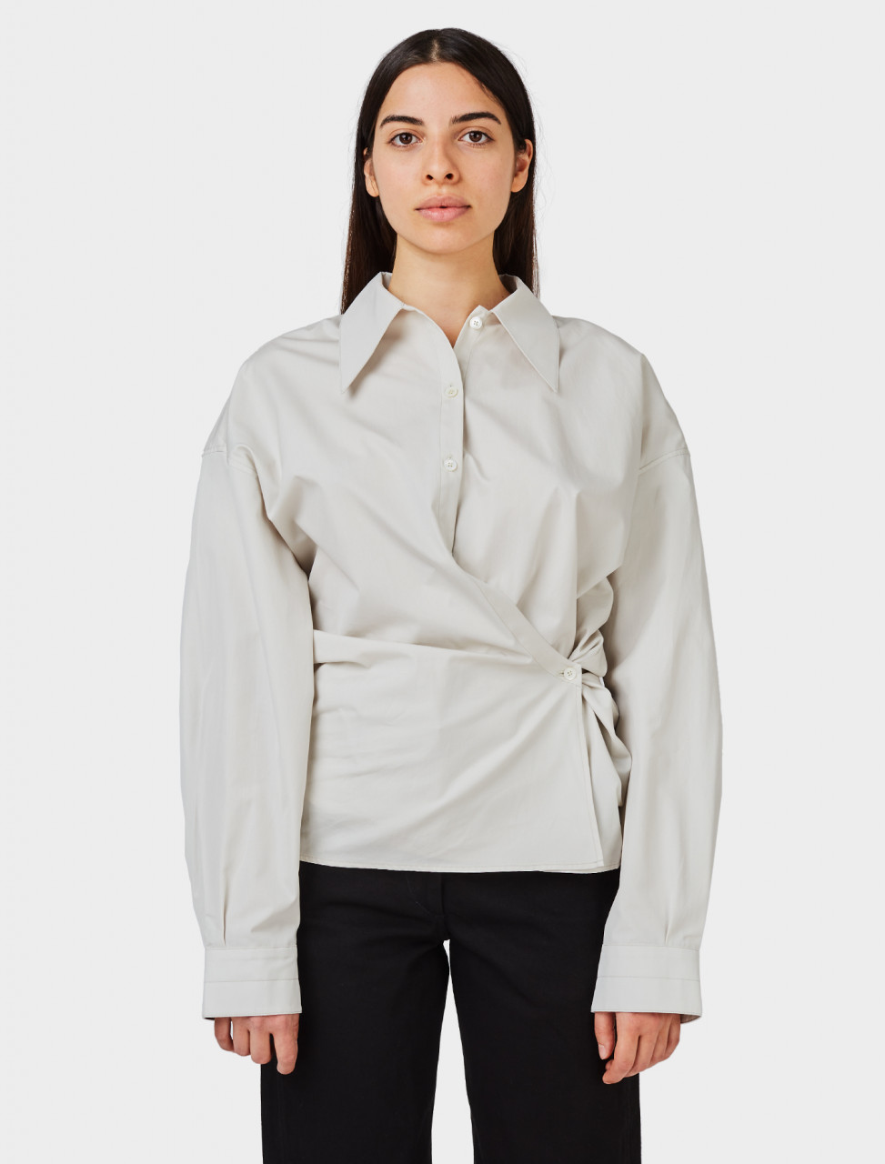 Front of Lemaire Twisted Shirt in Ice Grey