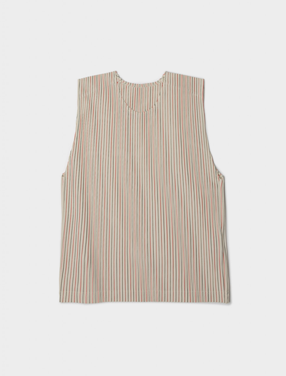 Front view of HOMME PLISSÉ Issey Miyake Striped Pleated Tank Top Vest in White and Red