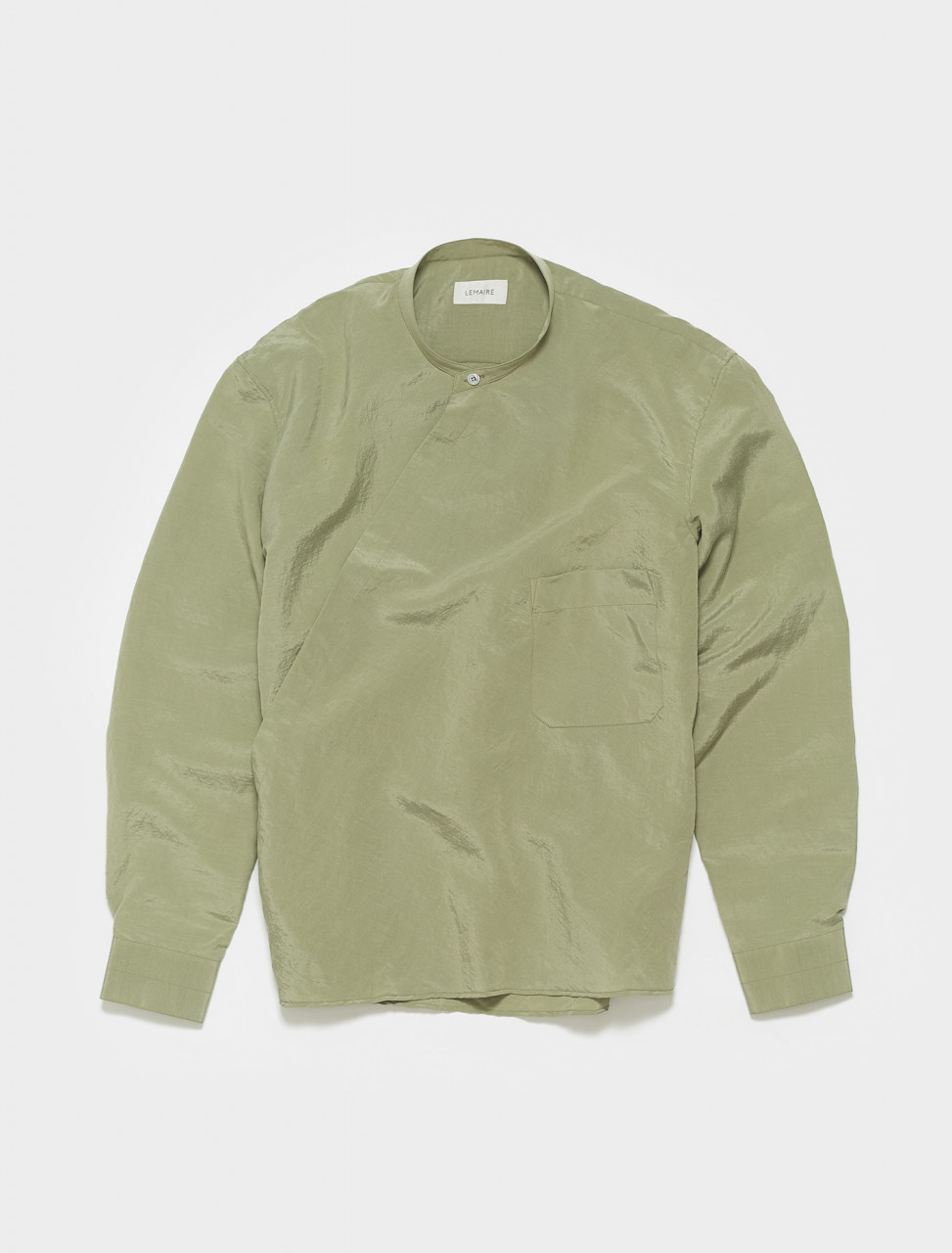X-211-SH164-LF208-609 LEMAIRE WRAPOVER SHIRT IN SAGE