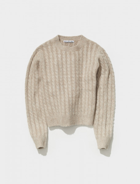 B60190 CPA FN MN KNIT000294 ACNE STUDIOS KABLE KNITTED CREW NECK SWEATER IN BISCUIT BEIGE