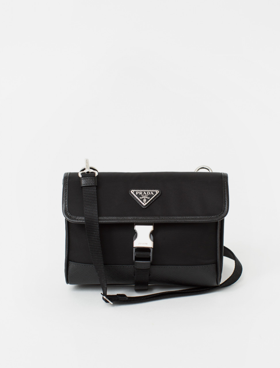 Fabric Bag with Leather Trim in Black