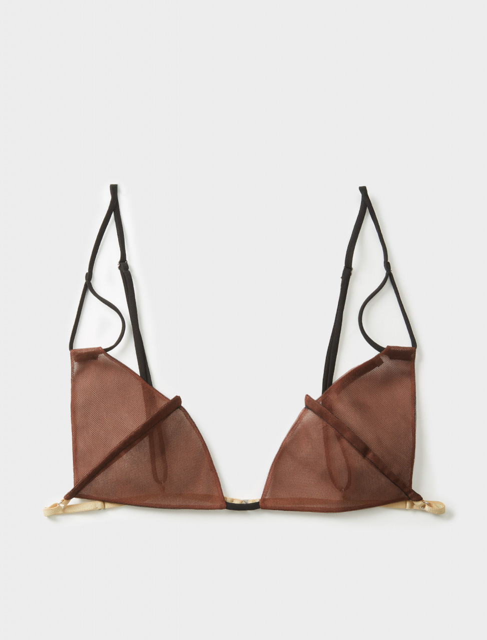 Nensi Dojaka Triangle Bra in Black & Brown Front