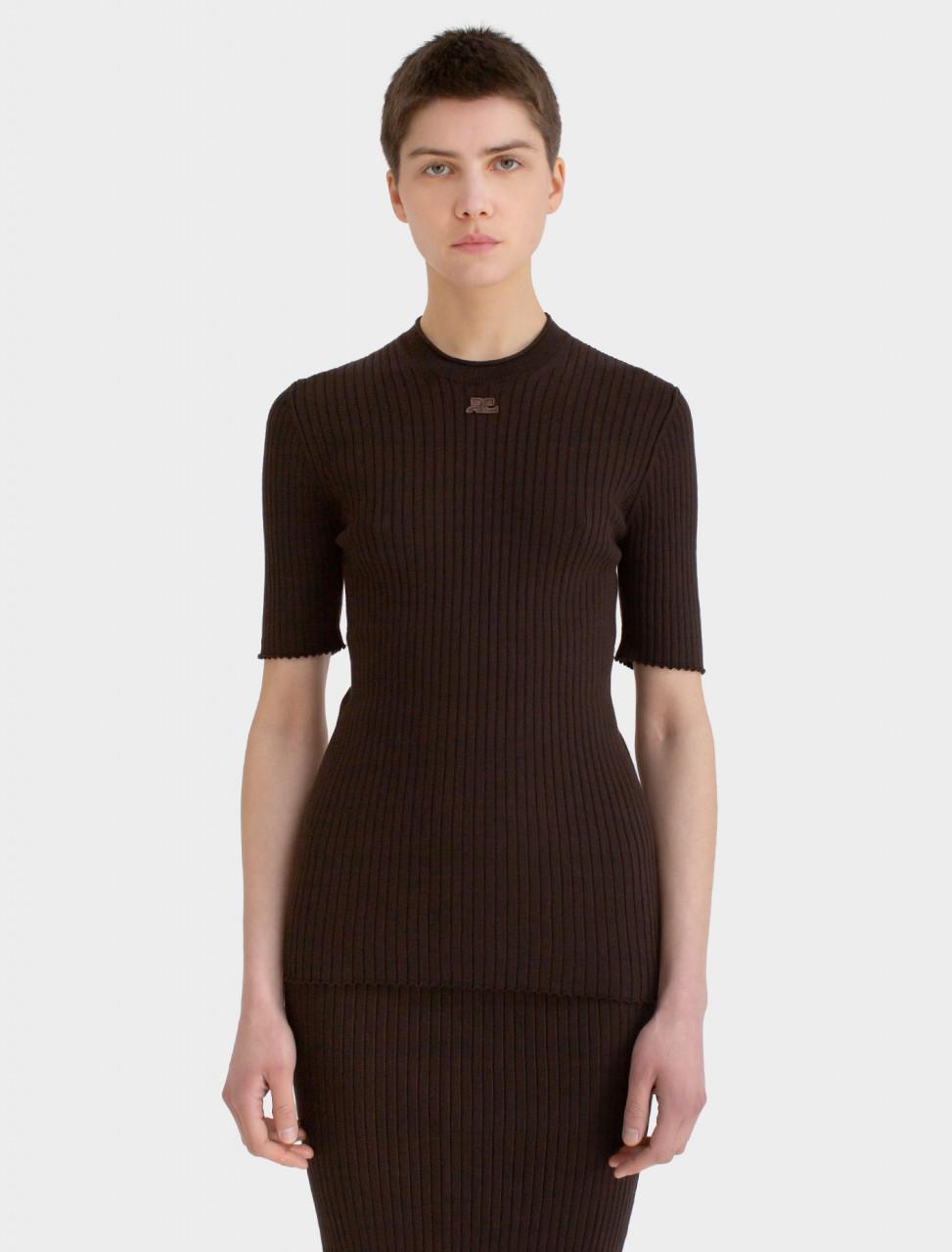 Short Sleeve Crew Neck Sweater in Dark Brown