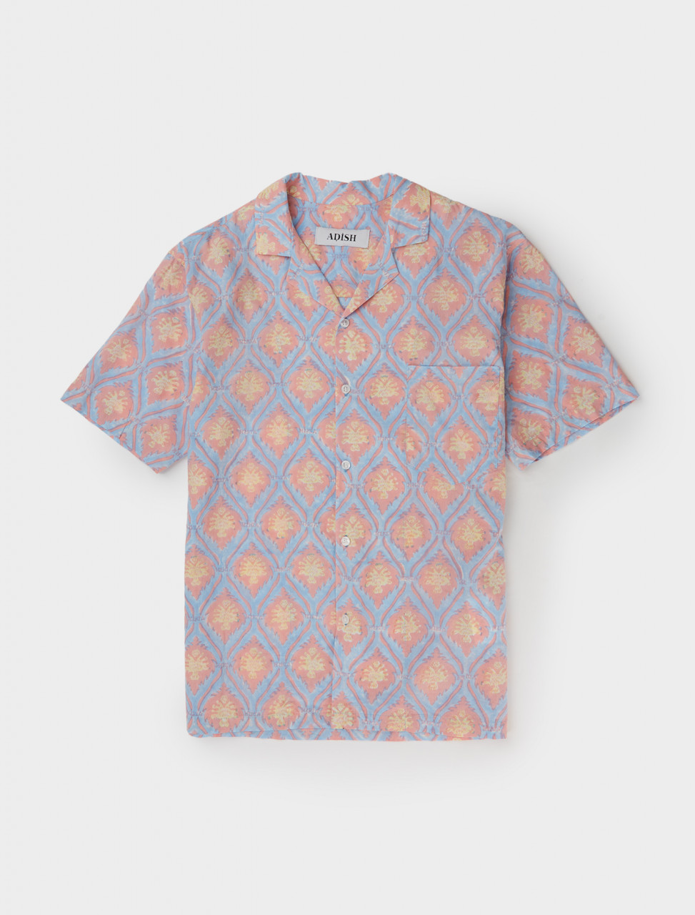 Front of Adish Sawsanas Shirt in Blue and Pink