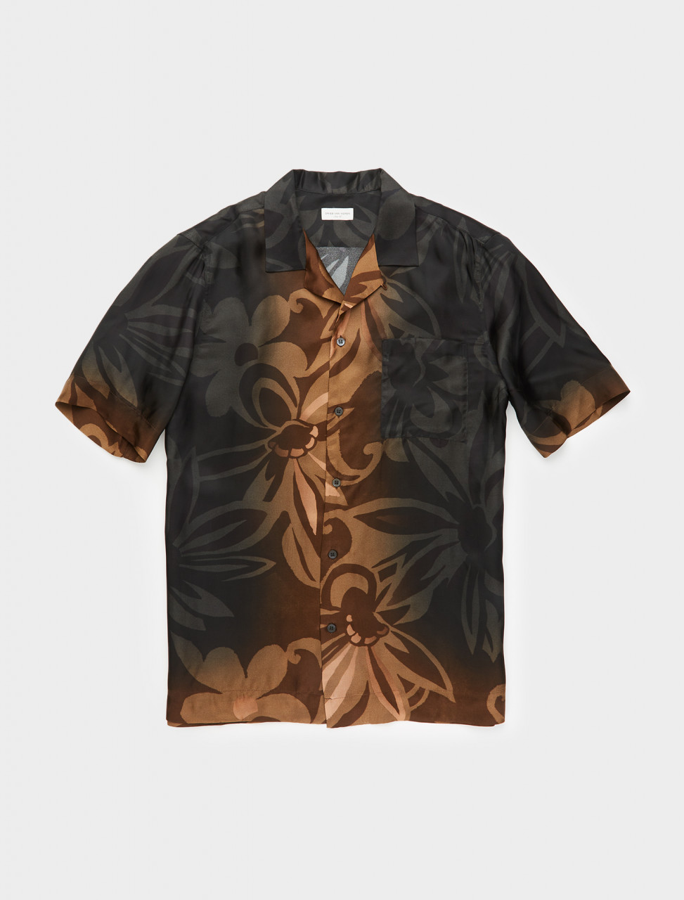 260-202-20717-1065-900 DRIES VAN NOTEN CARLTONE CAMP COLLAR PRINTED SHIRT BLACK