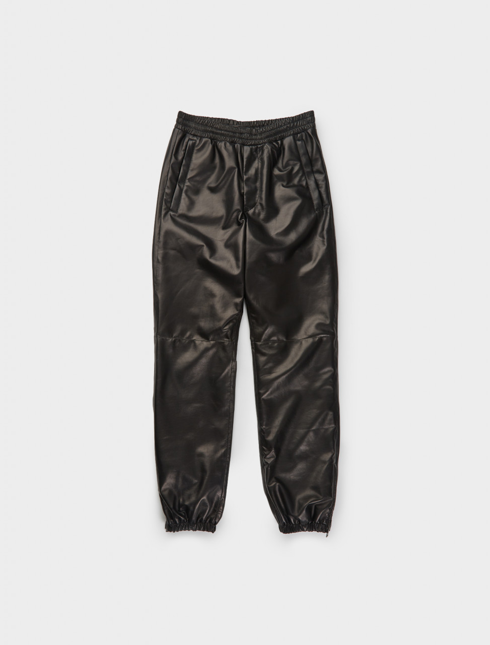242-UPP212-JHI-F0002 Prada Nappa Leather Jogger in Black