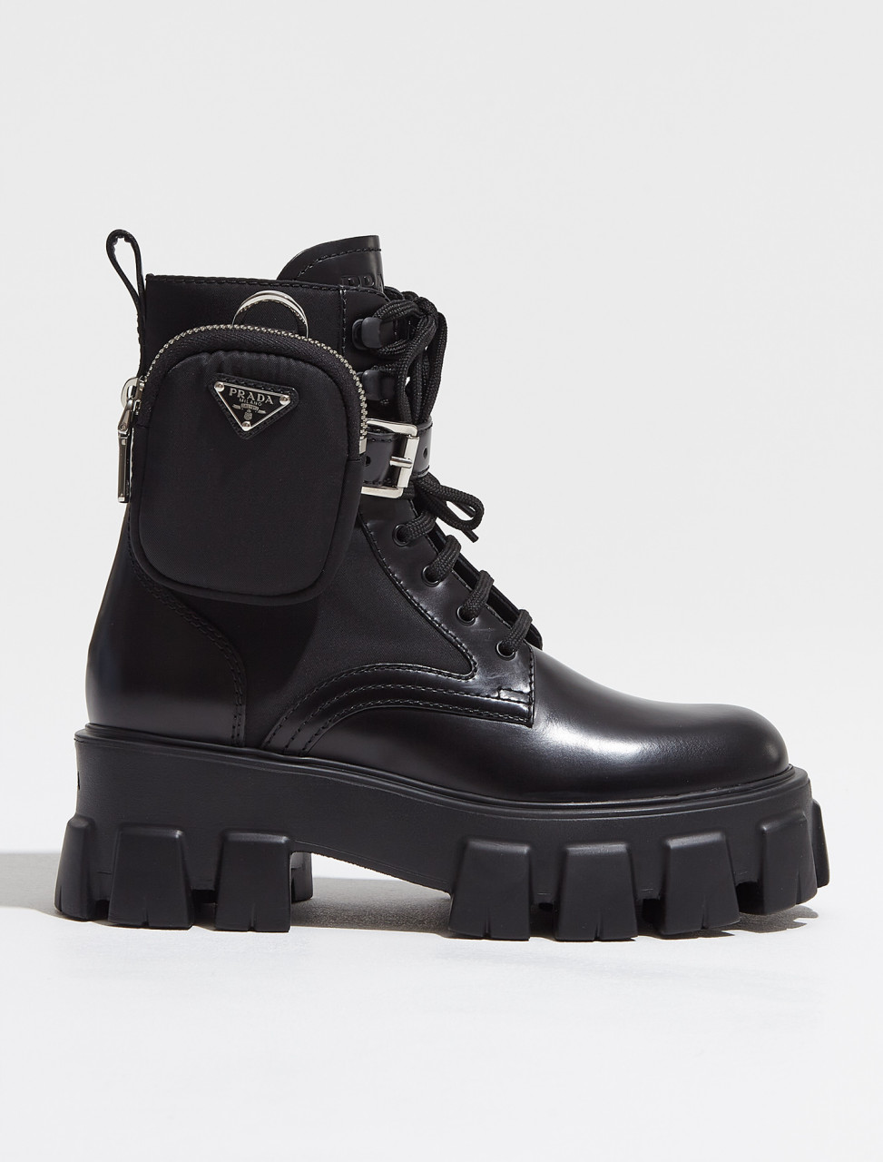 1T255M_3LFR_F0002 PRADA BRUSHED ROIS LEATHER AND NYLON MONOLITH BOOTS IN BLACK