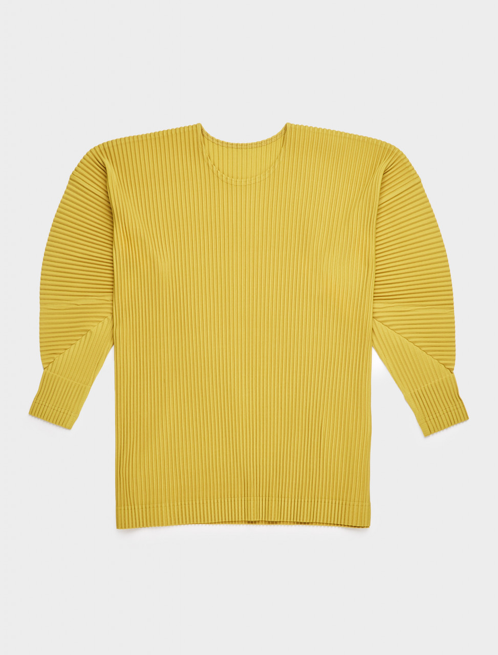 HP08JK117-53 HOMME PLISSE ISSEY MIYAKE LONG SLEEVE PLEATED TOP HERB YELLOW