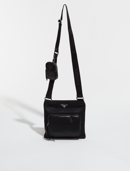 2VH136_2DW3_F0002 PRADA Re-Nylon and Leather Bag with Pouch in Black