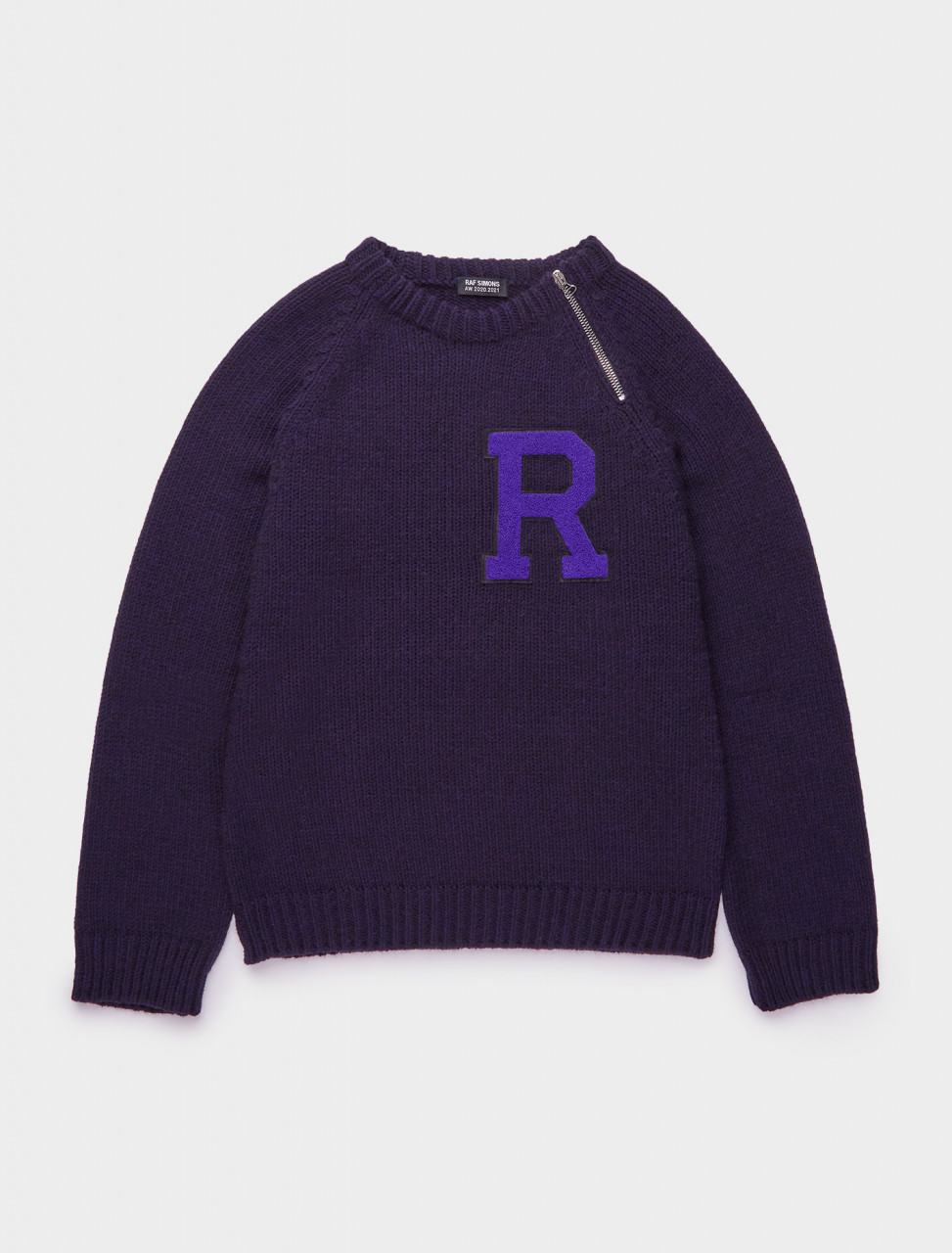162-202-837-50005-00057 RAF SIMONS RAGLAN SWEATER W LETTER BADGE