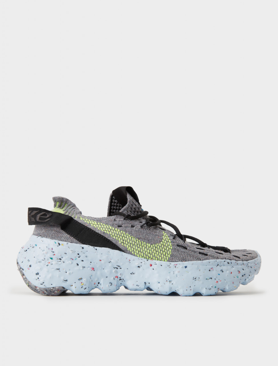 WOMEN'S NIKE SPACE HIPPIE 04 Sneaker in Grey/Volt-Black-Dark Smoke Grey