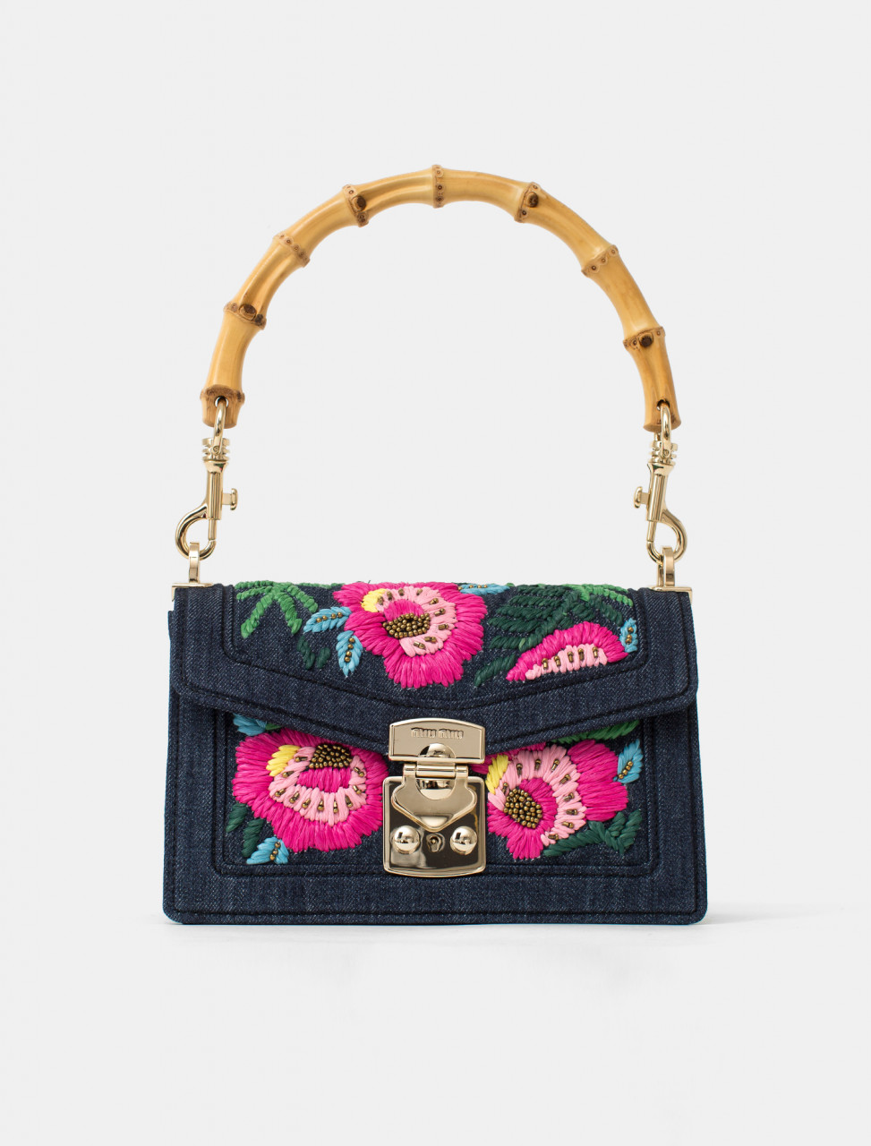Embroidered Flower Denim Handbag with Bamboo Handle