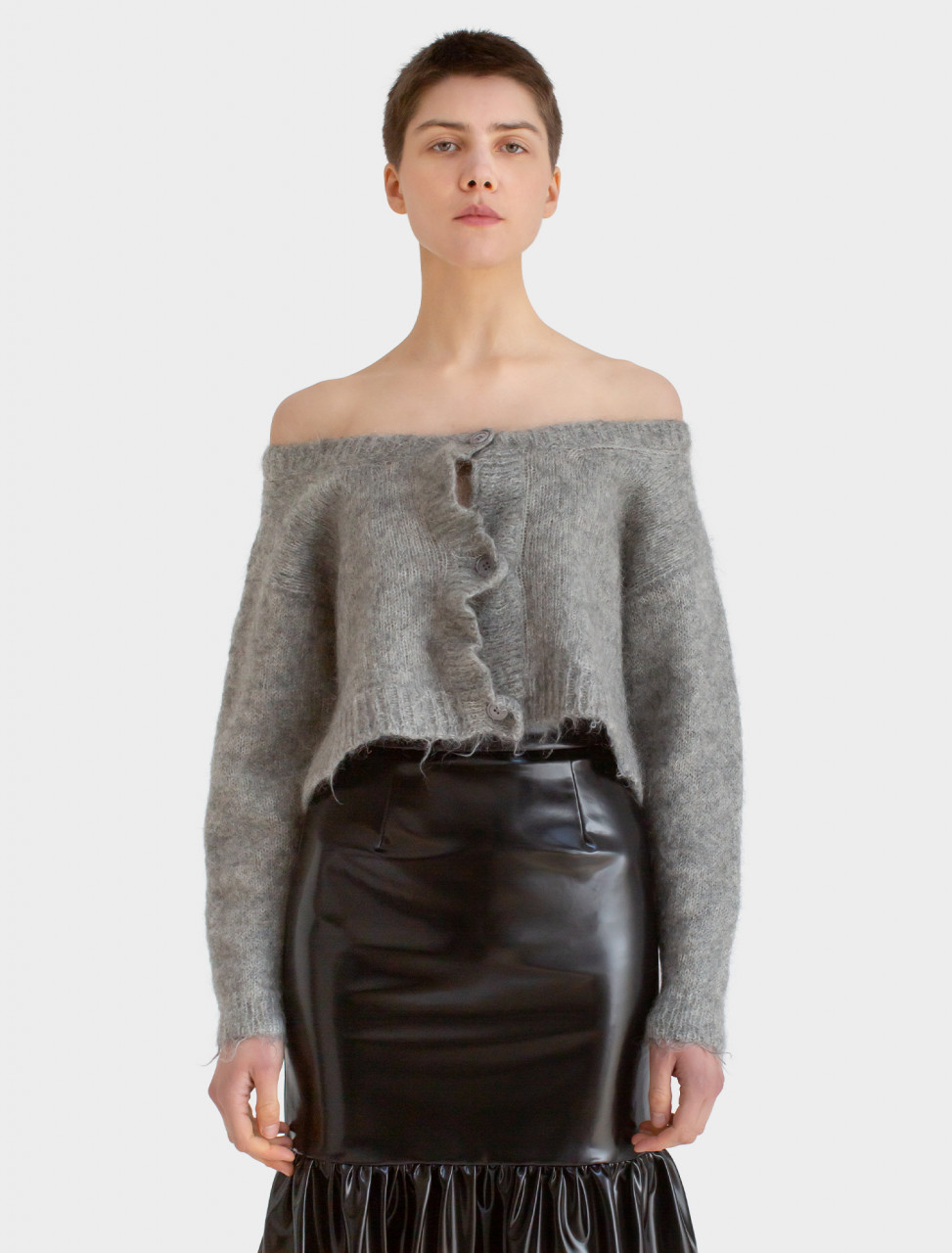 Brushed Mohair Cardigan in Grey