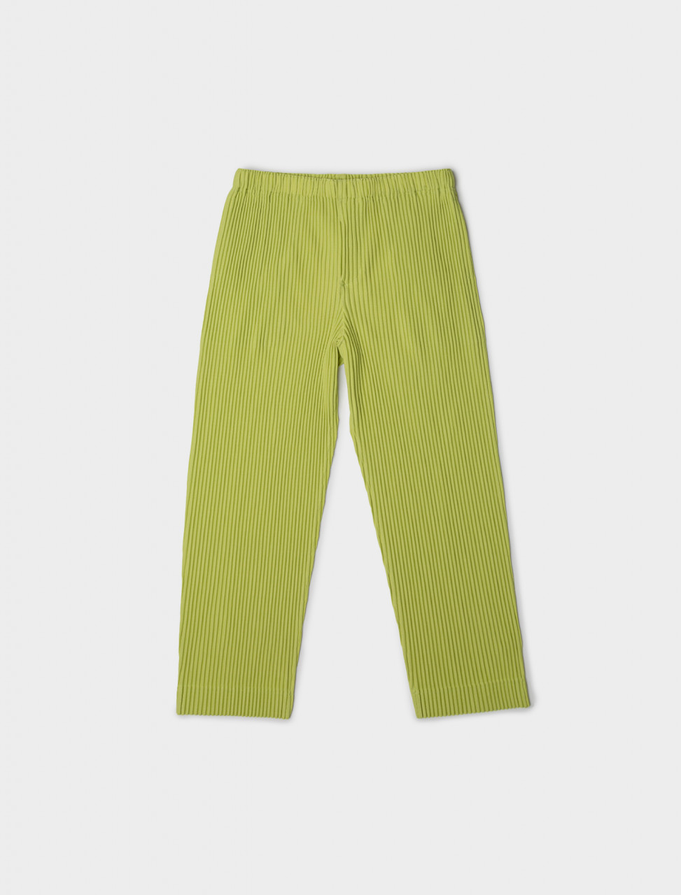 Front view of HOMME PLISSÉ Issey Miyake Pleated Trouser in Chartreuse