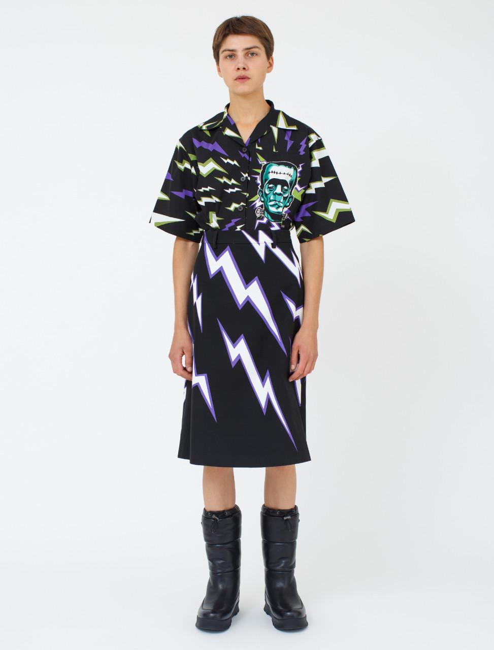 Thunderbolt Print Skirt