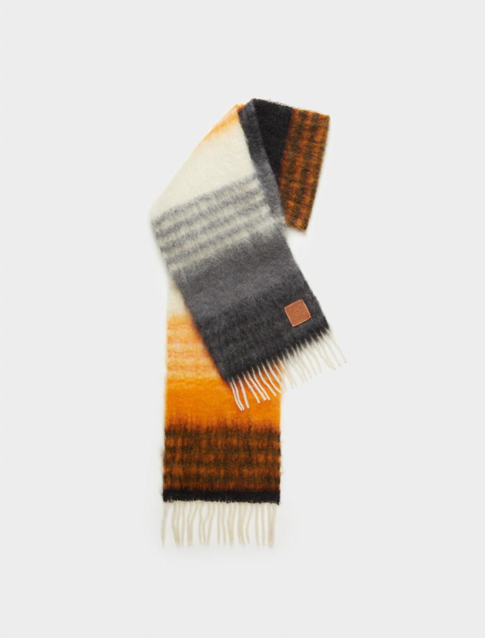 Stripe Scarf in Black, Orange & Beige