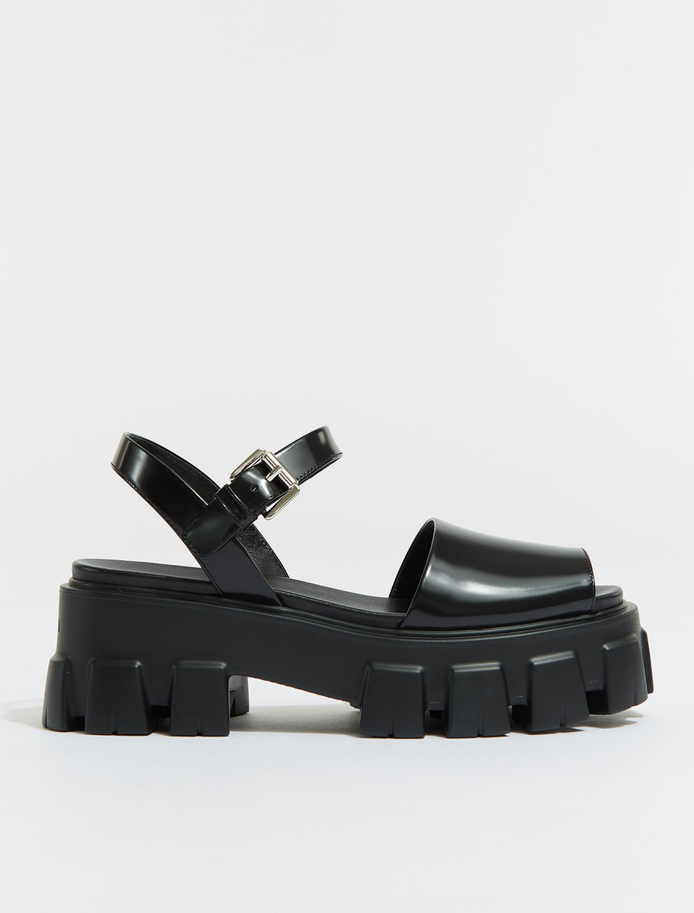 1X526M-F0002 PRADA MONOLITH BRUSHED LEATHER SANDALS BLACK