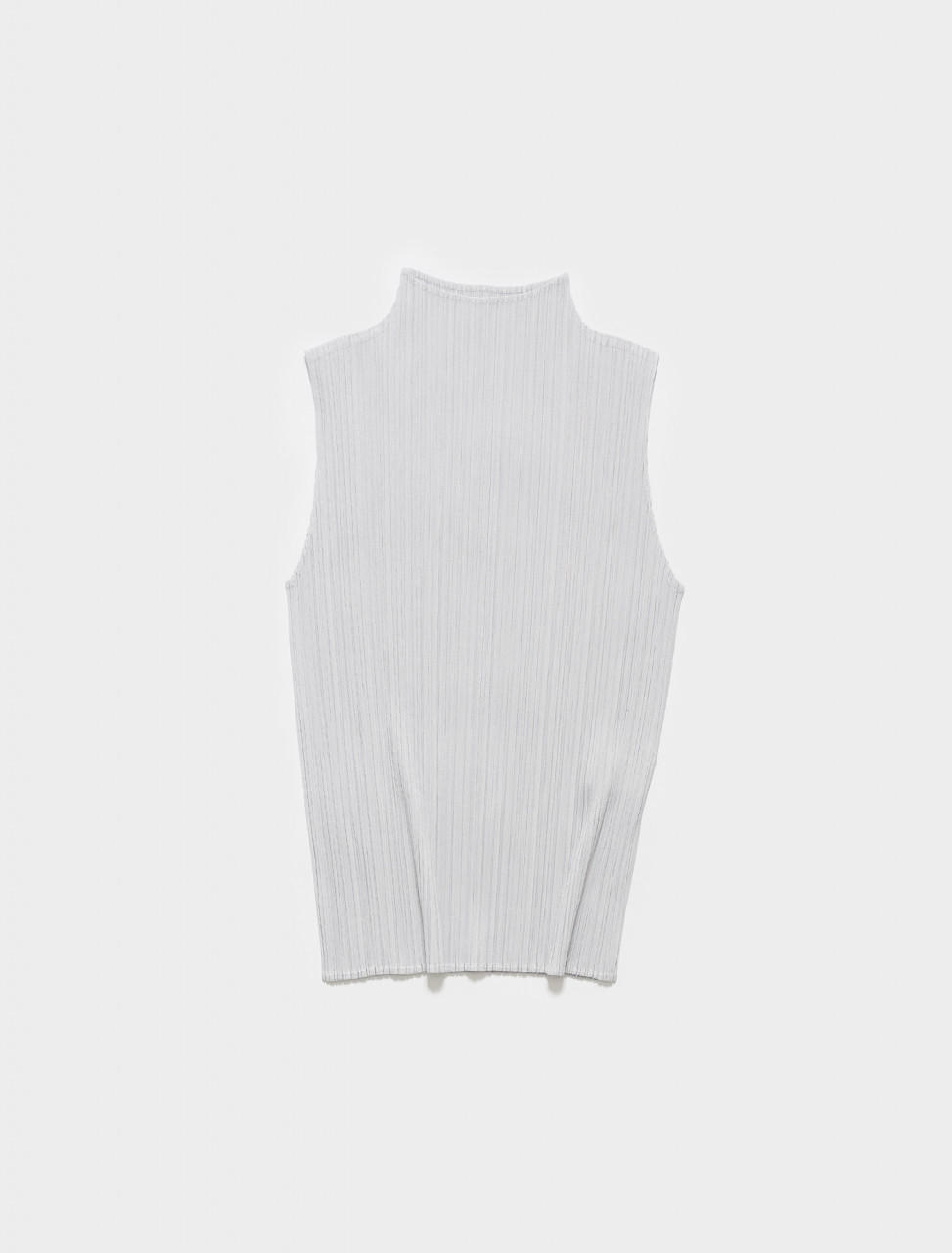 PP16JK102-10 PLEATS PLEASE ISSEY MIYAKE HIGH NECK PLEATED TOP IN LIGHT GREY
