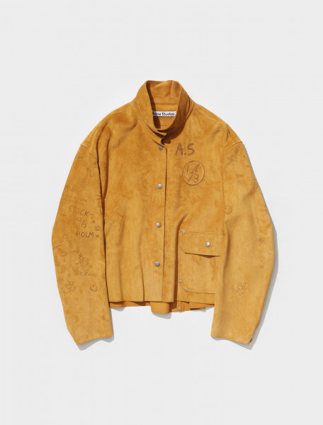 A70095 ABM FN WN LEAT000155 ACNE STUDIOS LALOVISA SUEDE JACKET IN MUSTARD YELLOW