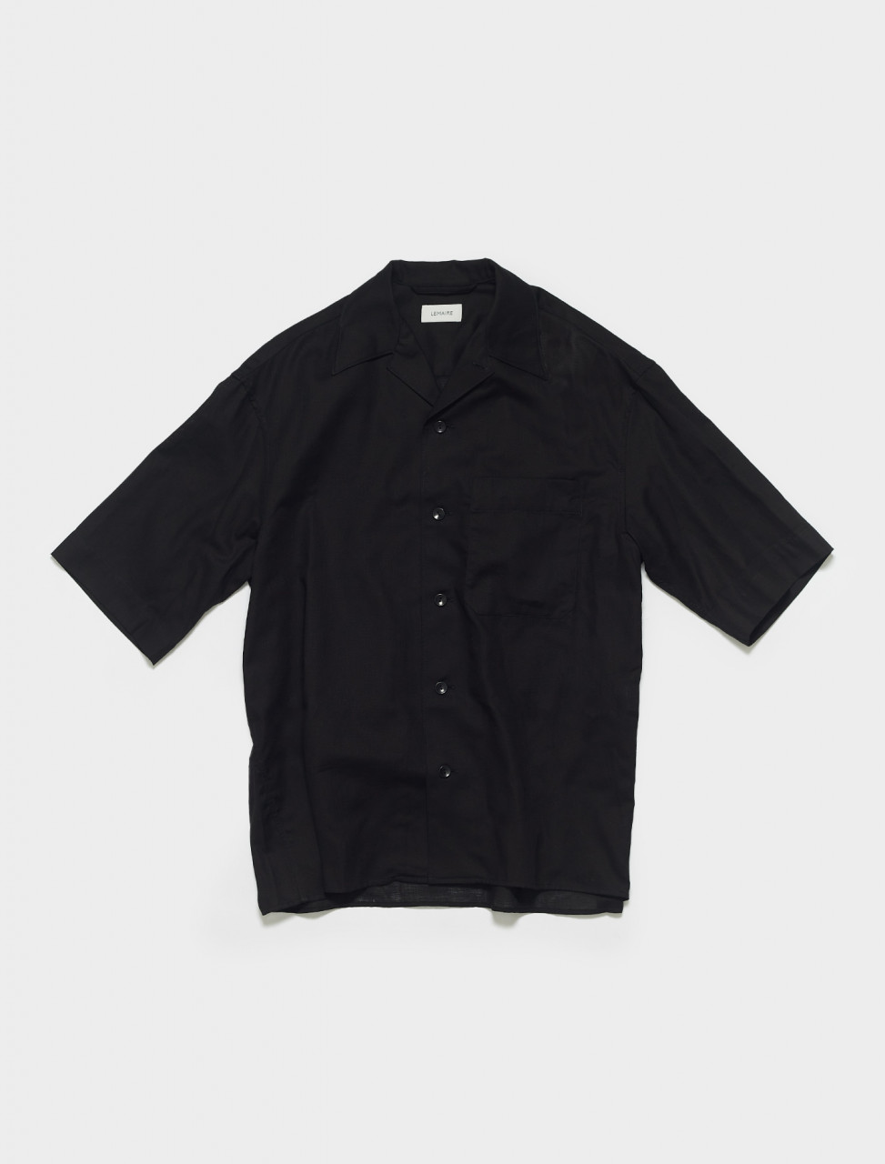 M-211-SH160-LF550-999 LEMAIRE SHORT SLEEVE SHIRT IN BLACK
