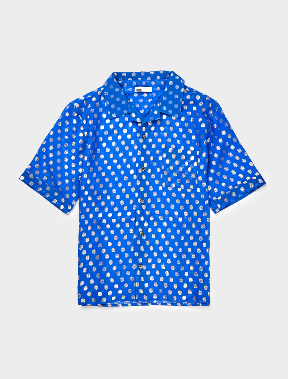 Front view of GmbH Luka Bowling Shirt in Blue Silk