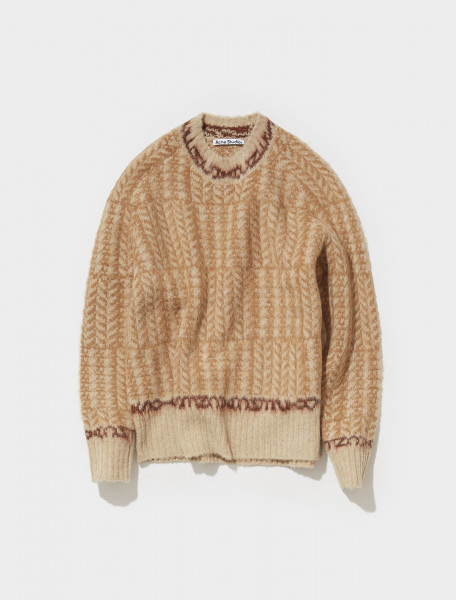 B60203 AF4 FN MN KNIT000279 ACNE STUDIOS KOWHAI TWO TONE JACQUARD CREW NECK KNIT IN BEIGE & BROWN