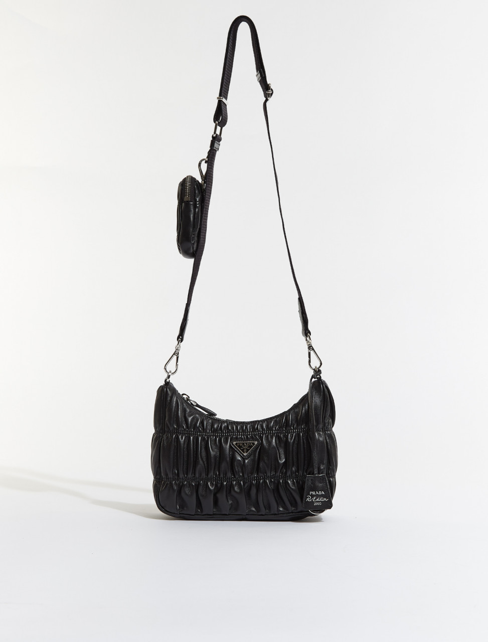 1BH204-F0002 PRADA RE EDITION 2005 NAPPA GAUFRÉ BAG IN BLACK