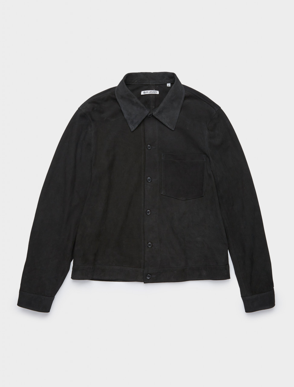 150-MR199NB OUR LEGACY REINCARNATION SUEDE SHIRT BLACK