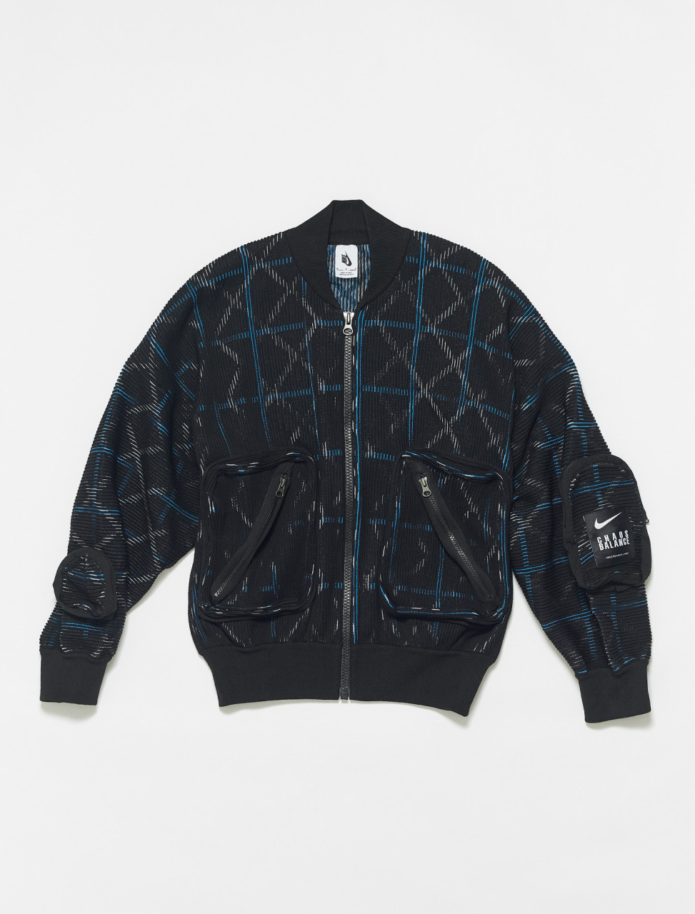 CW8021-010 NIKE X UNDERCOVER KNIT MA 1 BOMBER JACKET IN BLACK