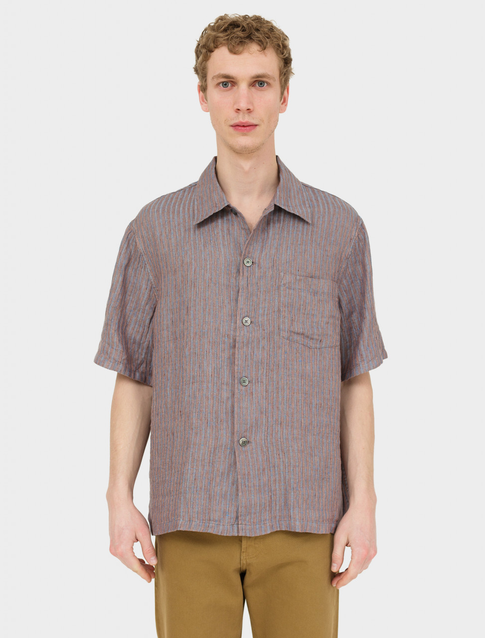 Front view of Our Legacy Short Sleeve Box Shirt in Linen Stripe
