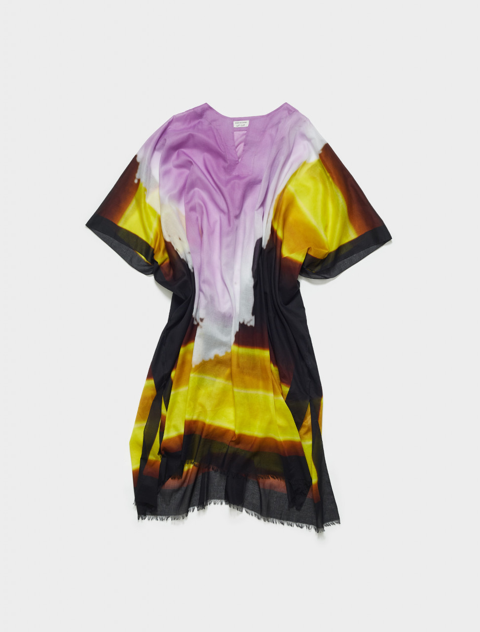 211-20717-2007-202 DRIES VAN NOTEN CARLAND LEN LYE PRINT TUNIC IN YELLOW