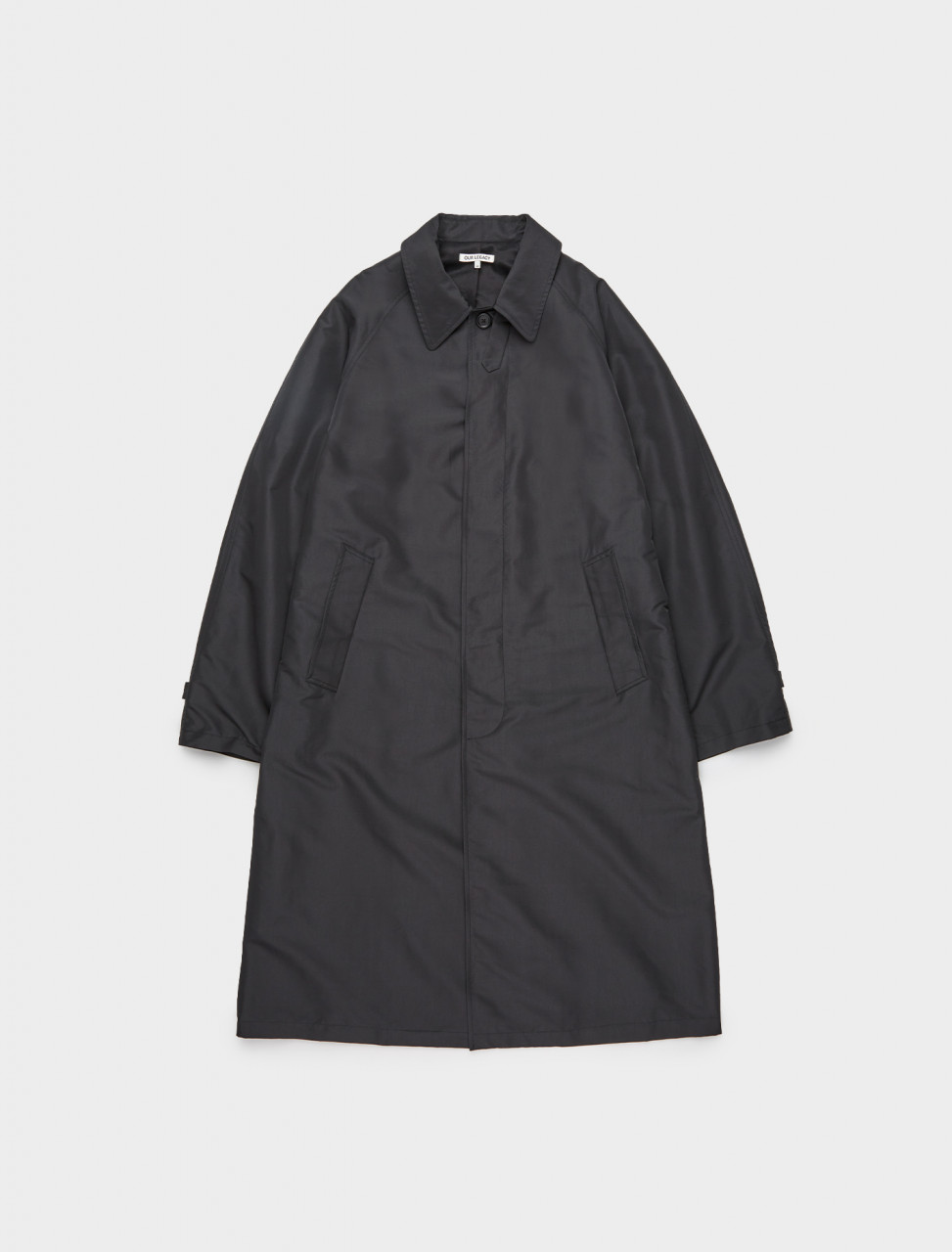 150-M4201RB OUR LEGACY RAGLAN CAR COAT BLACK RECYCLED POLY
