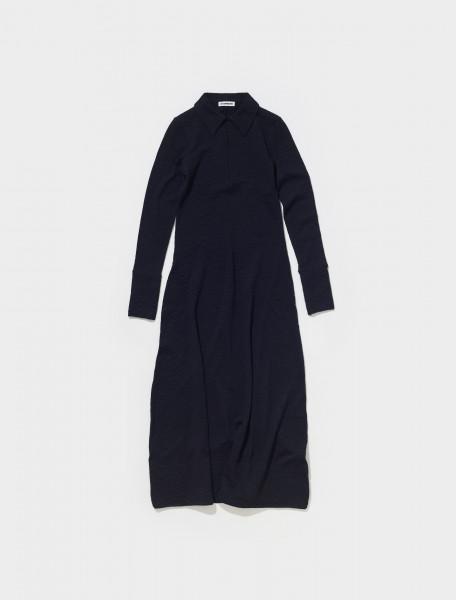 JSPT717043_WT217608_001 JIL SANDER LONG WOOL BLEND DRESS IN BLACK