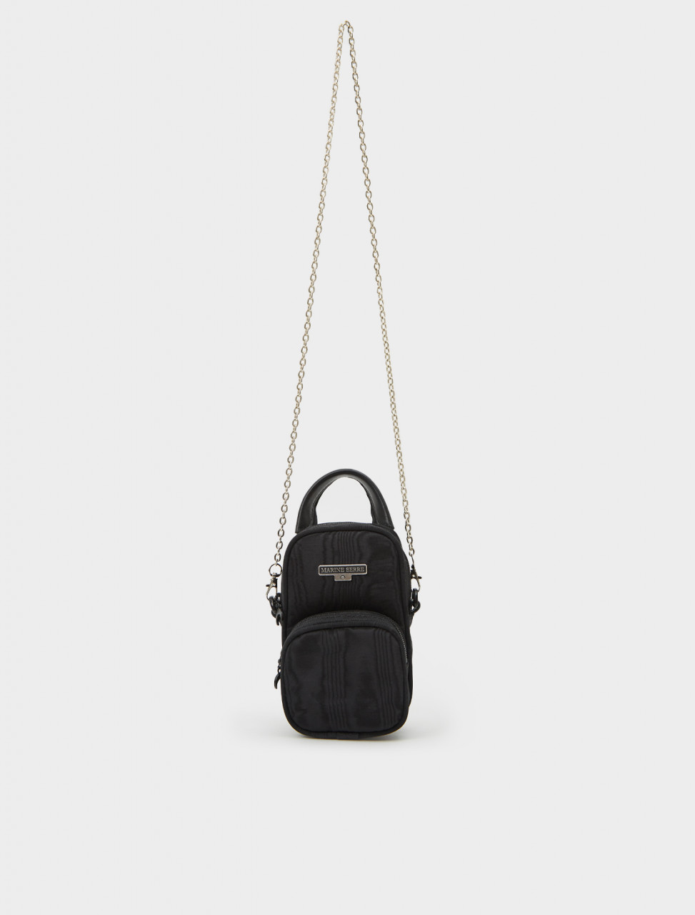 Front view of Marine Serre Mini Pocket Bag in Black