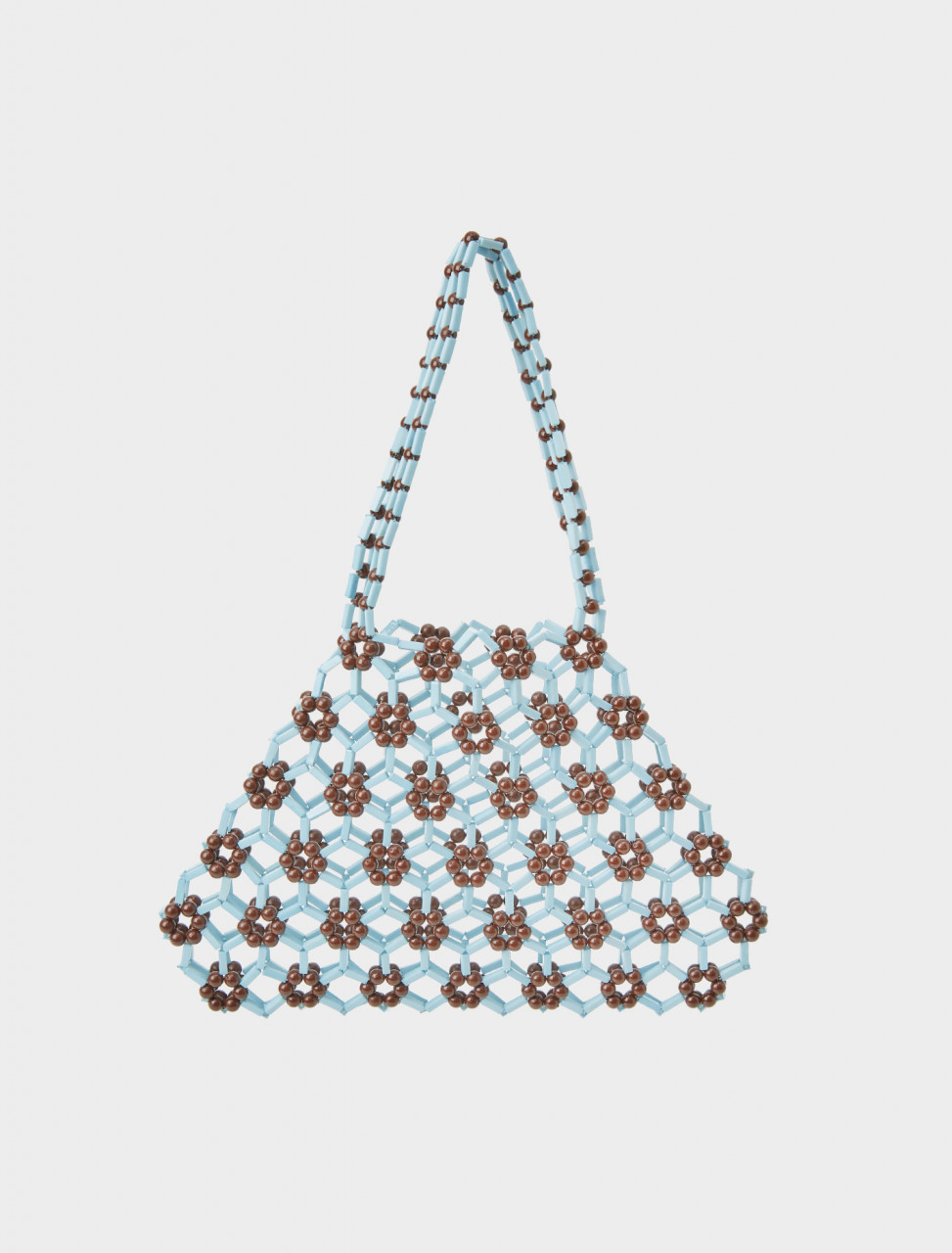 Front view of Paloma Wool Beaded Tijuana Bag in Blue and Brown