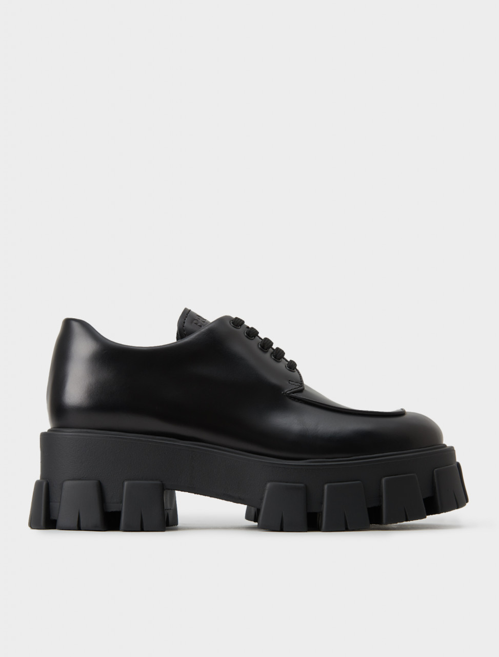 Prada Monolith Chunky Laced Shoe in Black Leather
